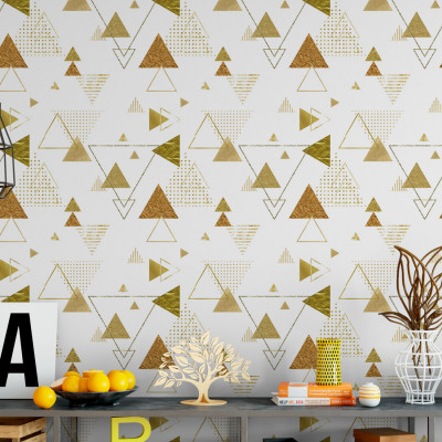 Papel de Parede Abstrato Triângulos Dourados