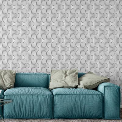 Papel de Parede Hexagonal Branco 3D