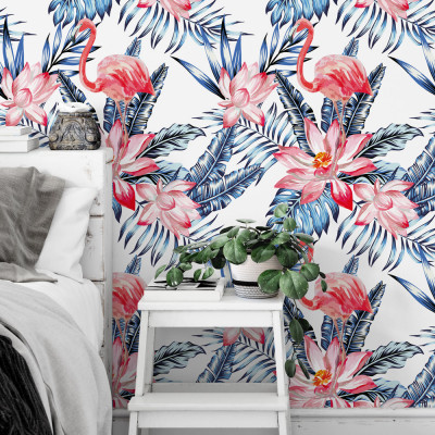 Papel de Parede Tropical Folhas Flores Flamingo