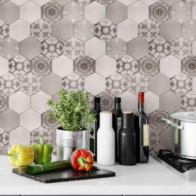 Papel de Parede Azulejos Hexagonal Bege
