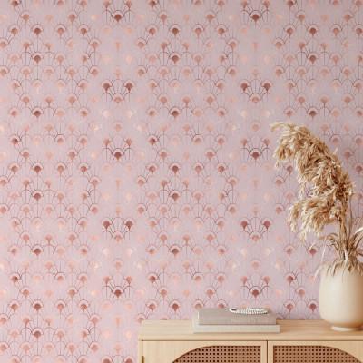 Papel de Parede Rosa Metalizado Arabesco