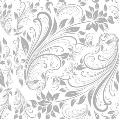 Papel de Parede Flores Cinzas