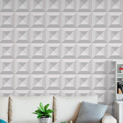 Papel de Parede Branco Quadrados 3D