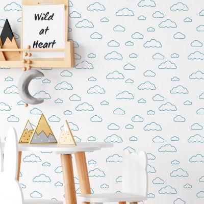 Papel de Parede Infantil Nuvens Minimalistas Azul