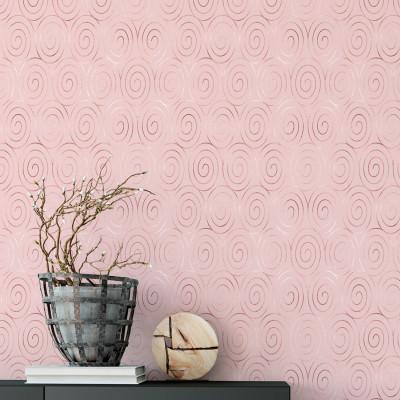 Papel de Parede Rose Gold com Linhas em Caracóis