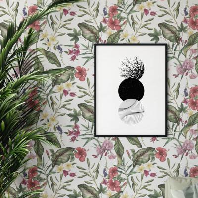 Papel de Parede Flores e Folhas Tropicais