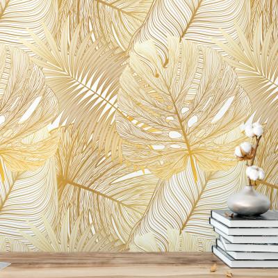 Papel de Parede Folhas Douradas