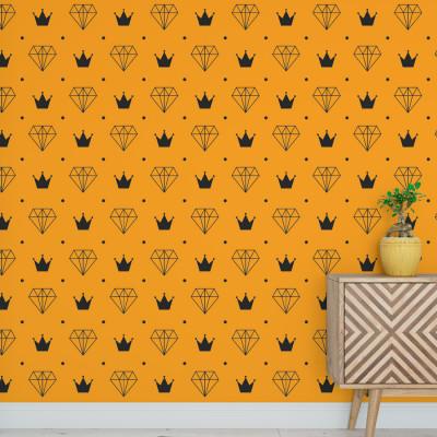 Papel de Parede Diamante e Coroa (Amarelo e Preto)