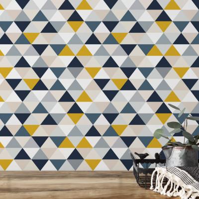Papel de Parede Abstrato Triângulos (Azul e Amarelo)