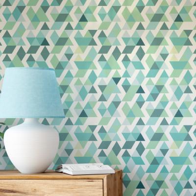 Papel de Parede Triângulos Abstratos (Tons de Verde e Azul)