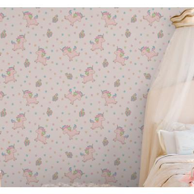 Papel de Parede Infantil Unicórnios e Estrelas (Rosa)