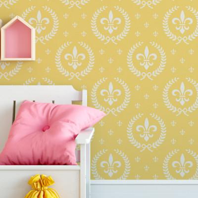 Papel de Parede Flor de Lis Amarela