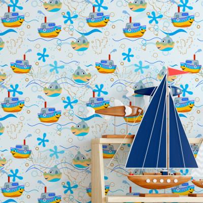 Papel de Parede Infantil Navios e Barcos
