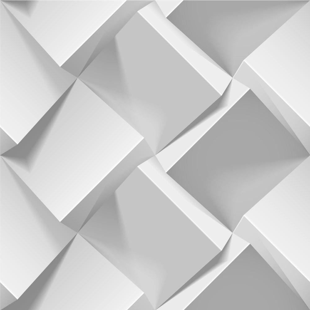 Papel de Parede Branco Abstrato 3D