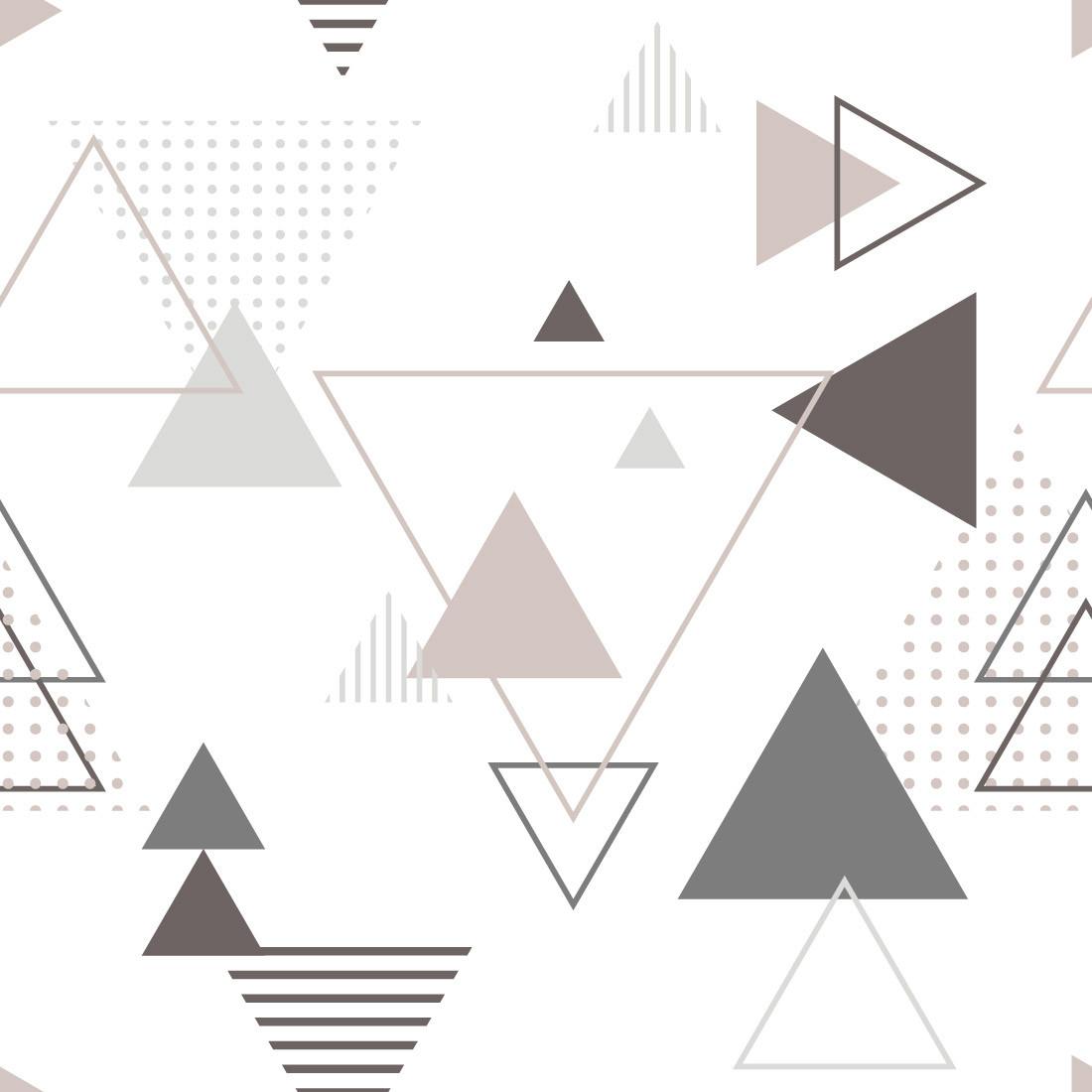 Papel de Parede Abstrato Triângulos (Rose e Cinza)