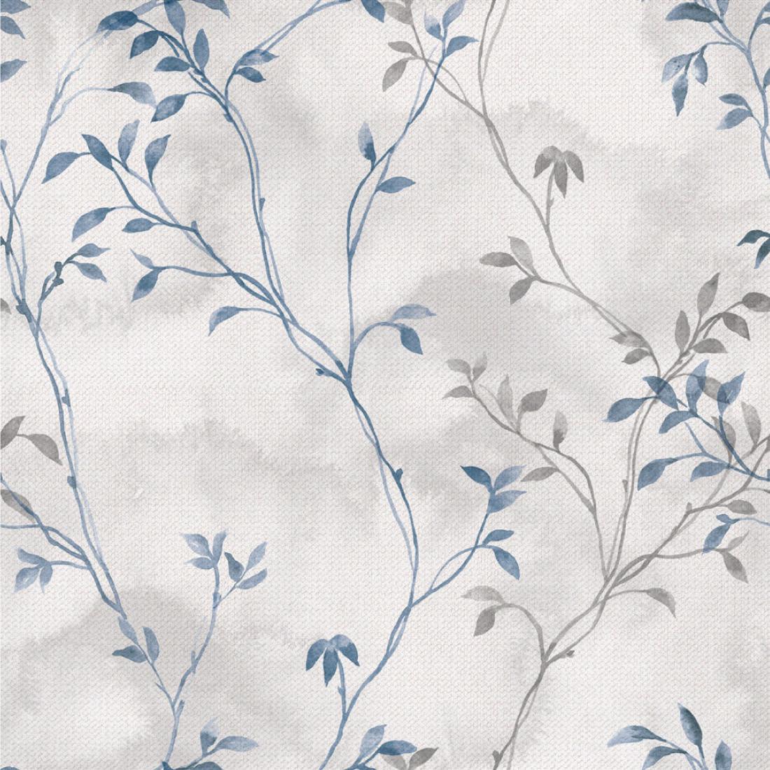 Papel de Parede Flores Retro (Azul)