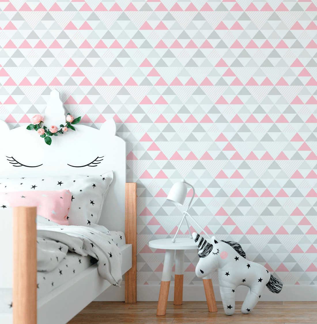 Papel de Parede Infantil de Triângulos (Tons de Rosa)