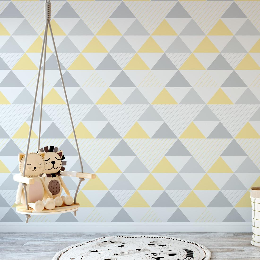 Papel de Parede Triângulos Amarelo e Cinza (Grande)