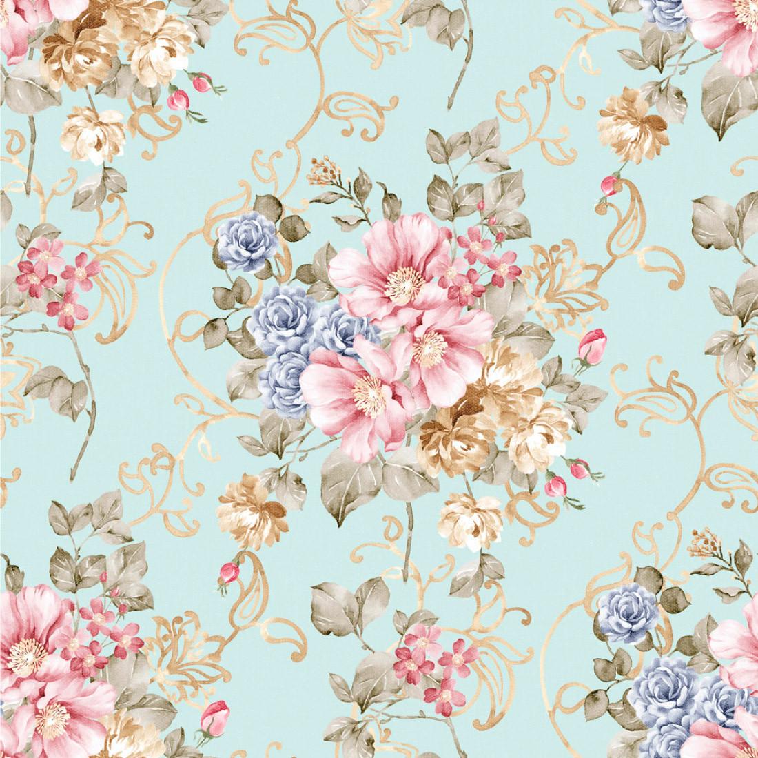 Papel de Parede Azul Turquesa com Flores