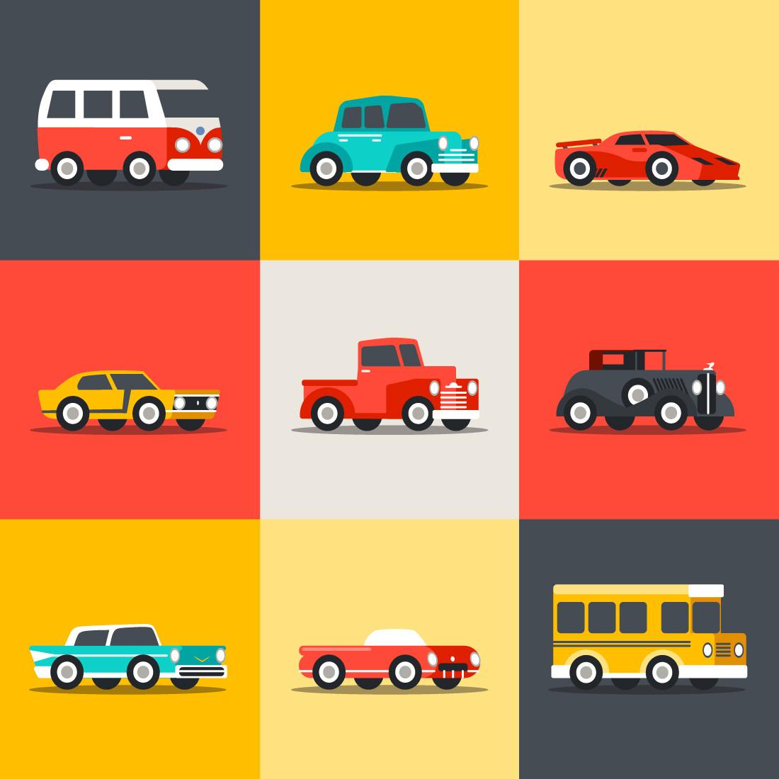 Papel de Parede Carros Antigos Coloridos