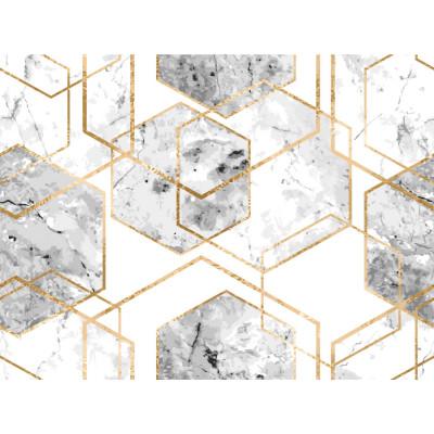 Papel de Parede Hexágonos de Mamoré Branco com Dourado