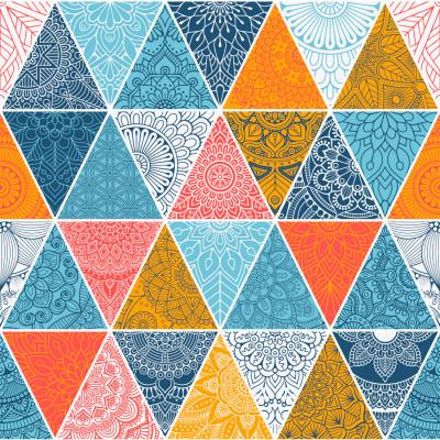 Papel de Parede Triângulos com Mandalas