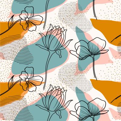 Papel de Parede Flores com Formas Abstratas Coloridas