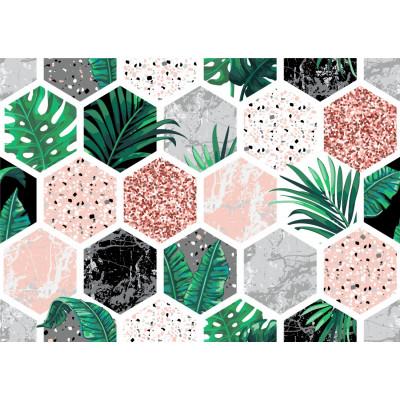 Papel de Parede Hexágono com Plantas e Mármore