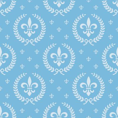 Papel de Parede Flor de Lis Azul (Infantil)