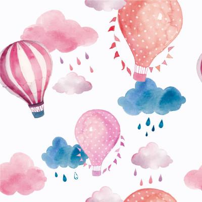 Papel de Parede Infantil Balões Rosa em Aquarela