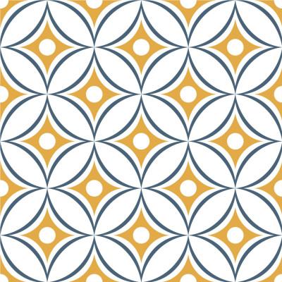 Papel de Parede Círculos Abstratos (Azul e Amarelo)