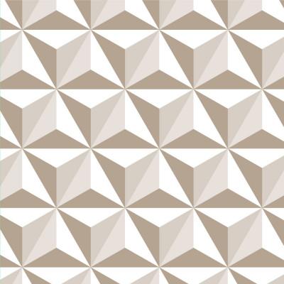 Papel de Parede Triângulos Quadrados 3D (Bege)