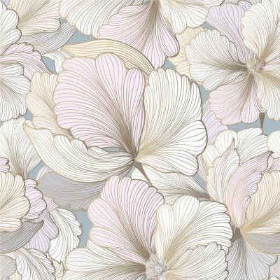 Papel de Parede Floral em Tons de Rosa Claro com Dourado