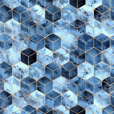 Papel de Parede Cubos em Tons de Azul com Linhas Douradas