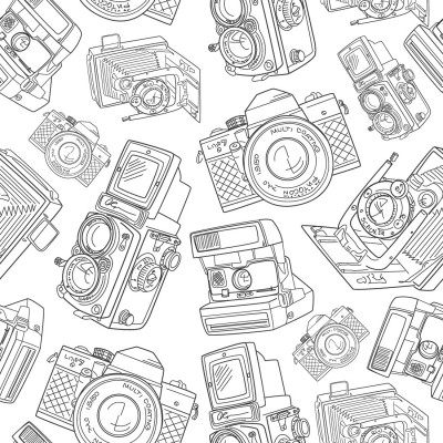 Papel de Parede Câmeras Retro (Cinza)