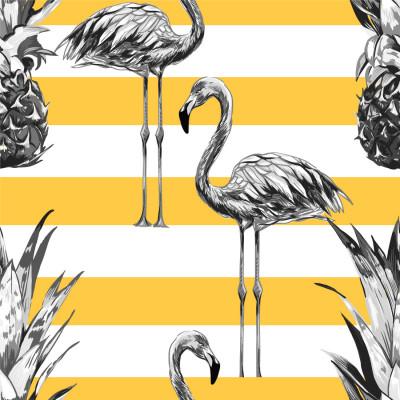 Papel de Parede Tropical, Abacaxis e Flamingos