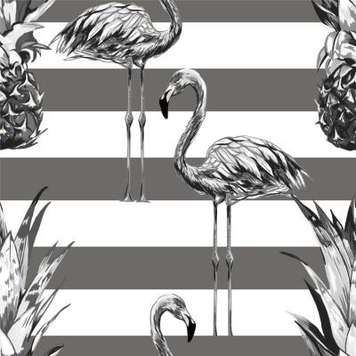 Papel de Parede Tropical, Abacaxis e Flamingos (Cinza)