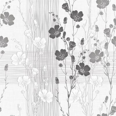 Papel de Parede Cinza Floral Abstrato
