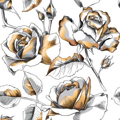 Papel de Parede Rosas Brancas com Dourado