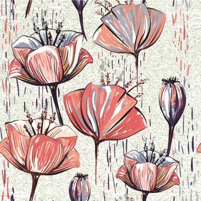 Papel de Parede Pintura Flores Vermelhas