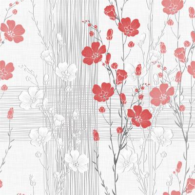 Papel de Parede Floral Vermelho Abstrato