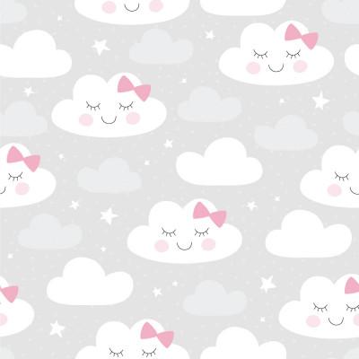 Papel de Parede Infantil Nuvens Brancas com Rosa