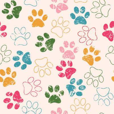 Papel de Parede Patinhas de Cachorro (Colorido)