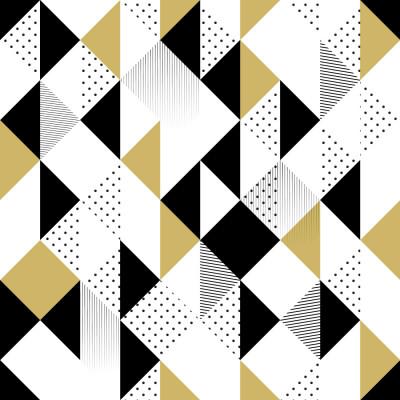 Papel de Parede Abstrato Triângulos (Preto e Amarelo)
