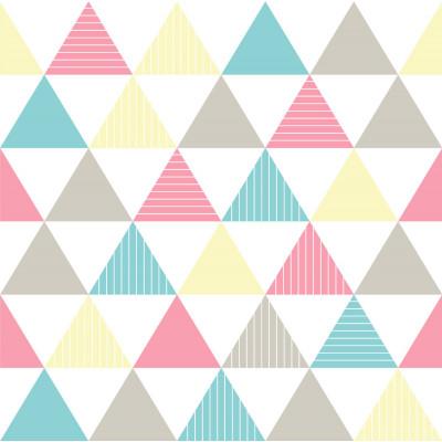 Papel de Parede Triângulos Rosa, Azul e Amarelo