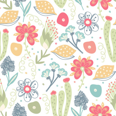 Papel de Parede Cactos e Flores Coloridos