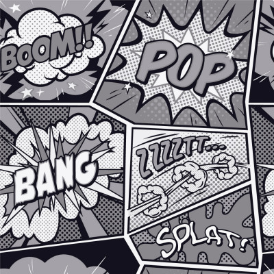 Papel de Parede Pop Art Geek (Preto e Branco)