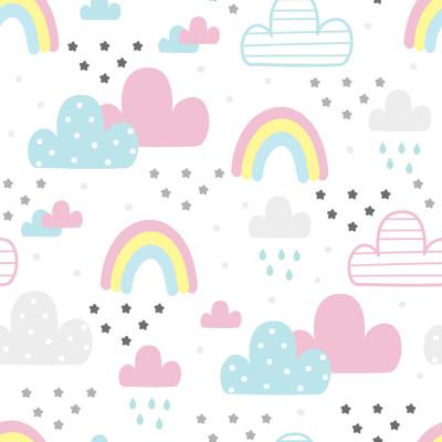 Papel de Parede Infantil Nuvens e Arco-íris