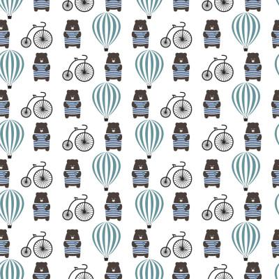 Papel de Parede Infantil Ursinho Balão Bicicleta Azul