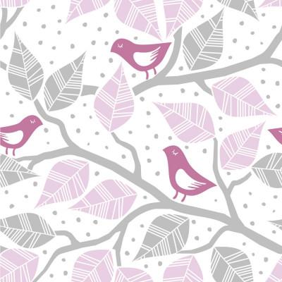 Papel de Parede Pássaros e Galhos (Rosa)